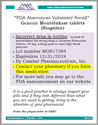 FDA announces voluntary recall of Montelukast tablets